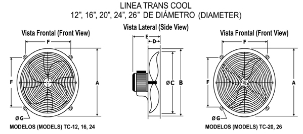 TC Extractor medidas de diámetro